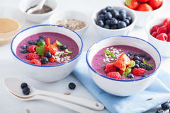 健康莓果圆滑的人碗用草莓蓝莓莓 免版税库存照片