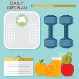 健康菜单果子和搅拌器奶昔elemen刀子例证 免版税库存照片