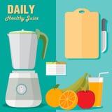 健康菜单果子和搅拌器奶昔elemen刀子例证 库存图片