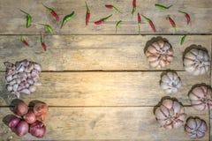 健康菜园青葱泰国大蒜泰国鸟辣椒 免版税库存照片