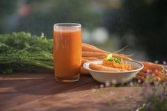 健康营养红萝卜成份,用不同的盘 库存图片