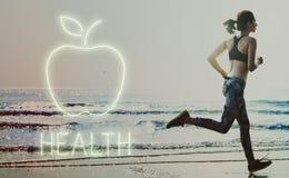 健康营养苹果计算机健康吃有机概念 免版税库存图片