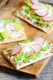 健康薄脆饼干开胃菜用调味汁和菜 图库摄影