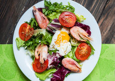 健康虾和芝麻菜沙拉用在一张木桌上的蕃茄 库存照片