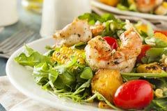 健康虾和芝麻菜沙拉 免版税库存照片