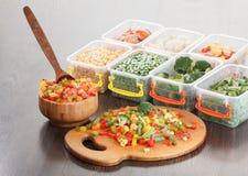 健康食品包装,结冰的菜素食营养 免版税库存照片
