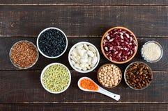 健康食品,节食,营养概念、素食主义者蛋白质和碳水化合物来源 图库摄影