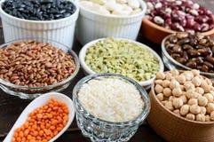 健康食品,节食,营养概念、素食主义者蛋白质和碳水化合物来源 库存照片