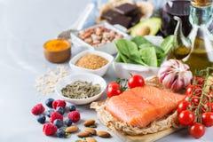 健康食物低胆固醇的分类 库存照片