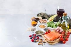 健康食物低胆固醇的分类 免版税库存图片