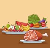 健康食物动画片 皇族释放例证