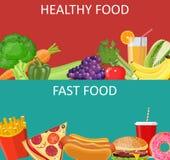 健康食物和快餐概念横幅 免版税库存图片
