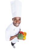 健康食物在他的手里 图库摄影
