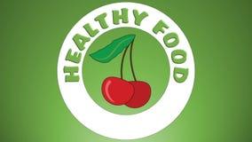 健康食物录影用生气蓬勃的果子-桔子,樱桃,瓜,菠萝,香蕉,生气蓬勃的文本健康食物 库存例证