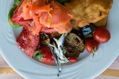 健康食物用鲥鱼,三文鱼,茄子,炸鸡,红色甜椒,抱子甘蓝,五颜六色的甜樱桃蕃茄我 图库摄影