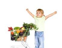 健康食物的女孩一点 库存照片
