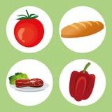 健康食物设计 有机图标 colorfull例证 免版税库存照片