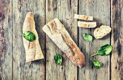 健康食物,意大利语,开胃ciabatta,蓬蒿,午餐,肉,三明治,顶视图 复制空间 图库摄影