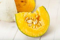健康食物:新鲜的鲜美甜绿色南瓜 库存照片