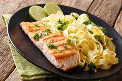 健康食物:烤三文鱼和意大利细面条面团用的乳酪 免版税库存图片