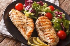 健康食物:苦苣生茯,蕃茄烤鸡和混合沙拉  库存照片