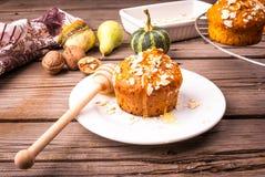 健康食物-南瓜松饼用燕麦粥 免版税库存照片