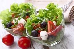 健康食物-沙拉用无盐干酪,芝麻菜 库存照片