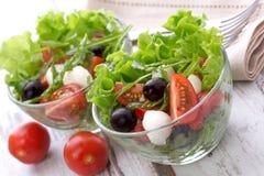 健康食物-沙拉用无盐干酪,芝麻菜 免版税库存照片