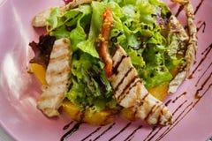 健康餐馆食物,火鸡沙拉特写镜头 免版税图库摄影