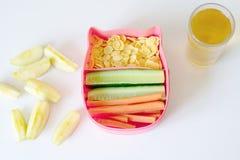 健康饭盒用三明治、新鲜蔬菜和果子在白色木背景 免版税库存照片