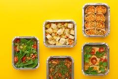 健康饭食交付 吃正确的概念,复制空间,顶视图 图库摄影