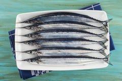 健康饮食的新鲜的颌针鱼 免版税库存照片