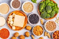健康饮食素食主义者食物,素食者蛋白质来源 免版税库存图片