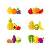 健康饮食设计元素用水果和蔬菜 免版税库存图片