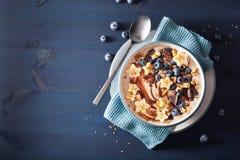 健康香蕉圆滑的人碗用蓝莓巧克力核桃 免版税图库摄影