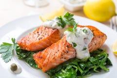 健康鲑鱼排 免版税库存照片