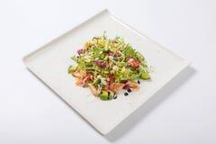 健康鸡丁沙拉用新莴苣和芝麻菜和切片果子 库存照片