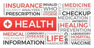 健康,保险,医疗-词云彩 向量例证