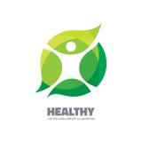 健康-传染媒介商标模板例证 在叶子的人形象 生态和生物产品概念标志 生态绿色自然符号向量 库存照片