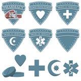 健康医学被设置的药房象 医学的徽章平的标志 库存照片