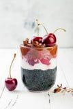 健康黑森林点心 染黑被激活的木炭chia布丁用樱桃、椰子奶油和巧克力 素食主义者早餐 免版税库存照片