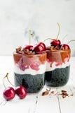 健康黑森林点心 染黑被激活的木炭chia布丁用樱桃、椰子奶油和巧克力 素食主义者早餐 库存图片