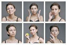健康年轻白女孩的情感 库存图片