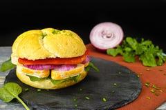 健康素食素食者三明治用法国软干酪,大鹏 库存图片
