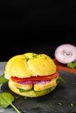 健康素食素食者三明治用法国软干酪,大鹏 免版税库存图片