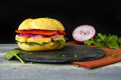 健康素食素食者三明治用法国软干酪,大鹏 图库摄影