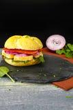 健康素食素食者三明治用法国软干酪,大鹏 库存照片