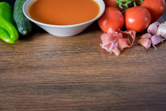 健康Gazpacho为夏天 免版税库存照片