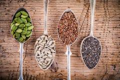 健康superfood :南瓜籽、向日葵种子、亚麻籽和chia 库存图片