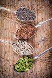 健康superfood :南瓜籽、向日葵种子、亚麻籽和chia 免版税库存图片